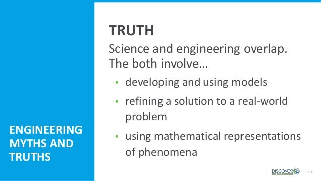 19 Science and engineering overlap. The both involve…  developing and using models  refining a solution to a real-world ...