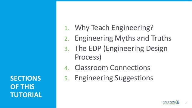 1. Why Teach Engineering? 2. Engineering Myths and Truths 3. The EDP (Engineering Design Process) 4. Classroom Connections...