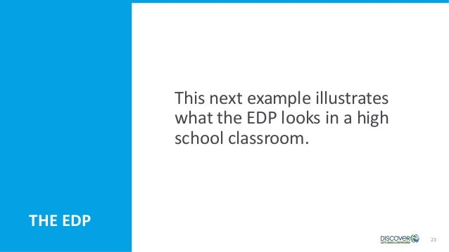 23 THE EDP This next example illustrates what the EDP looks in a high school classroom.