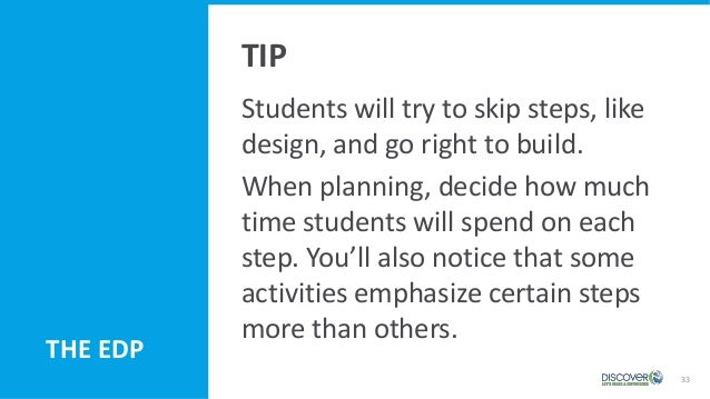 33 Students will try to skip steps, like design, and go right to build. When planning, decide how much time students will ...