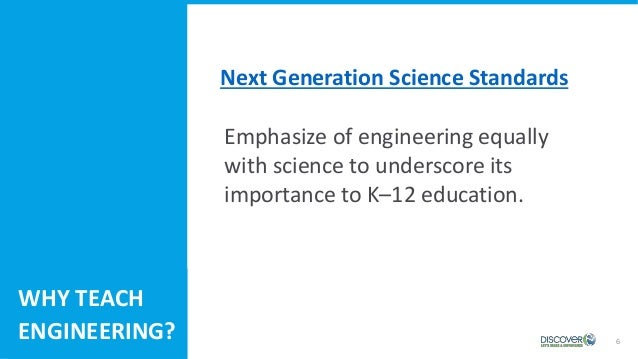 6 Emphasize of engineering equally with science to underscore its importance to K–12 education. WHY TEACH ENGINEERING? Nex...