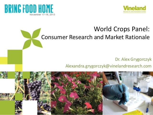World Crops Panel: Consumer Research and Market Rationale  Dr. Alex Grygorczyk Alexandra.grygorczyk@vinelandresearch.com