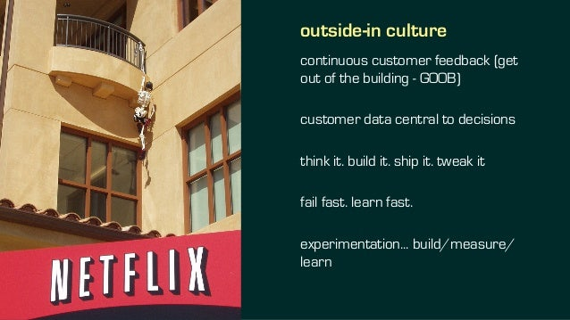outside-in culture continuous customer feedback (get out of the building - GOOB) customer data central to decisions think ...