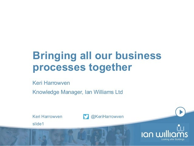 Keri Harrowven @KeriHarrowven slide1 Bringing all our business processes together Keri Harrowven Knowledge Manager, Ian Wi...
