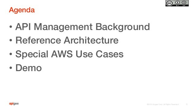 ©2015 Apigee Corp. All Rights Reserved.  Agenda! • API Management Background! • Reference Architecture! • Special AWS U...