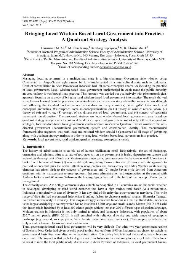 Public Policy and Administration Research www.iiste.orgISSN 2224-5731(Paper) ISSN 2225-0972(Online)Vol.3, No.5, 201321Brin...