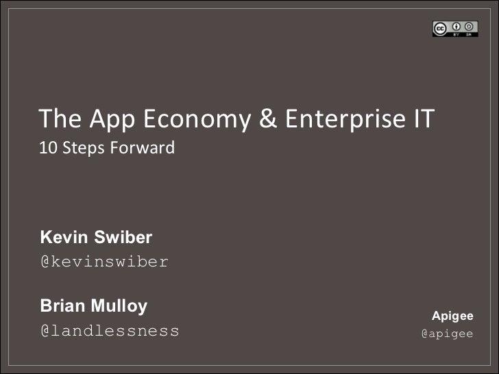 The App Economy & Enterprise IT 10 Steps Forward Kevin Swiber@kevinswiberBrian Mulloy                  ...