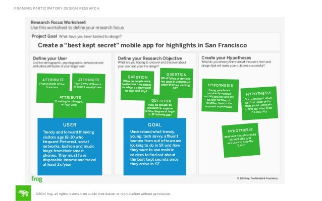 """FRAMING PARTICIPATORY DESIGN RESEARCH  Create a """"best kept secret"""" mobile app for highlights in San Francisco  AT TR IBU T..."""