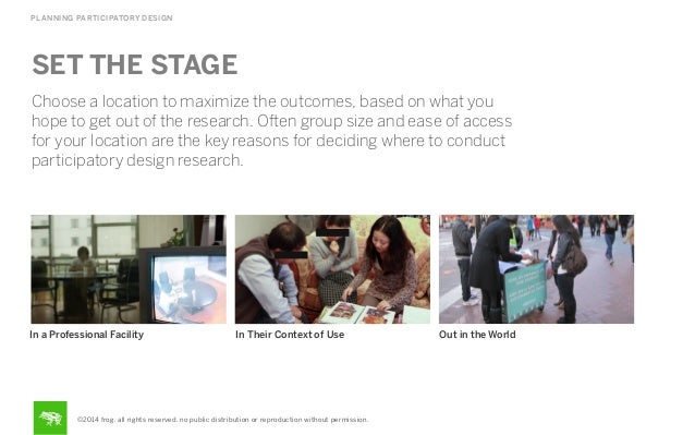 PLANNING PARTICIPATORY DESIGN  SET THE STAGE Choose a location to maximize the outcomes, based on what you hope to get out...