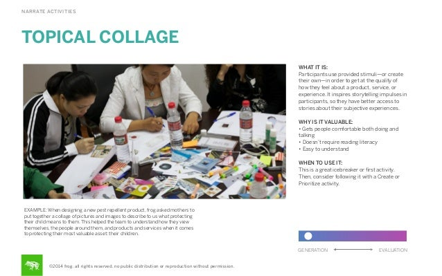 NARRATE ACTIVITIES  TOPICAL COLLAGE WHAT IT IS: Participants use provided stimuli—or create their own—in order to get at t...
