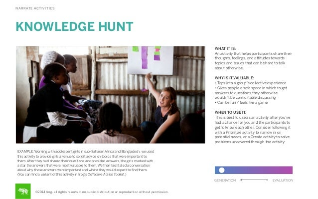 NARRATE ACTIVITIES  KNOWLEDGE HUNT WHAT IT IS: An activity that helps participants share their thoughts, feelings, and att...
