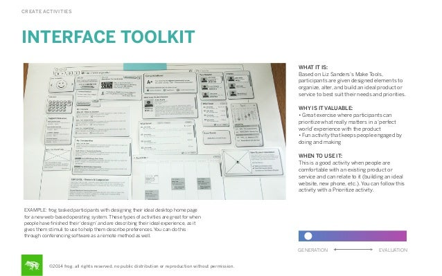 CREATE ACTIVITIES  INTERFACE TOOLKIT WHAT IT IS: Based on Liz Sanders's Make Tools, participants are given designed elemen...
