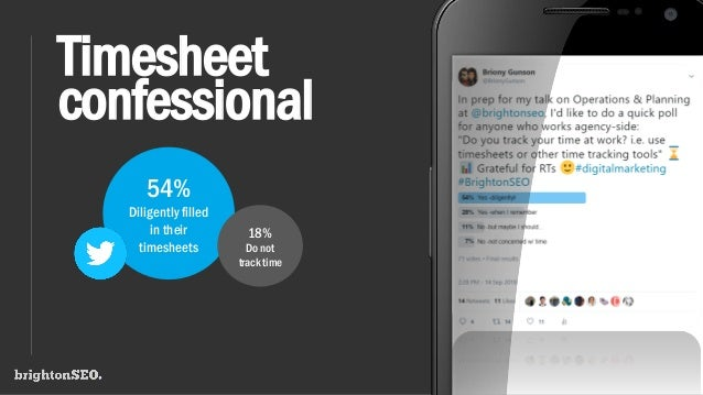 Timesheet confessional 54% Diligently filled in their timesheets 18% Do not track time
