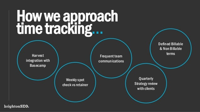 Howweapproach timetracking… Harvest integration with Basecamp Weekly spot check vs retainer Frequent team communications Q...