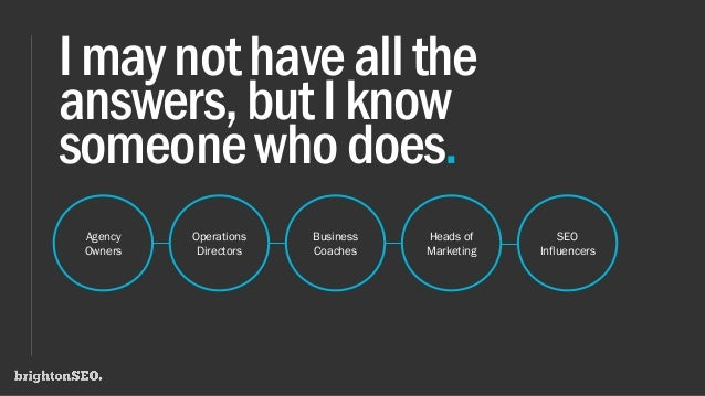 Imaynothaveallthe answers,butIknow someonewhodoes. Agency Owners Operations Directors Business Coaches Heads of Marketing ...