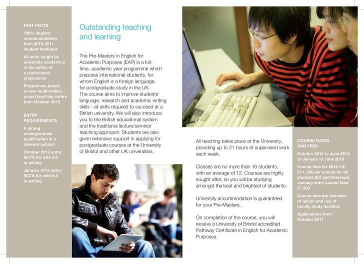Bristol University Pre - Masters in English for Academic Purposes Programme - Intelligent Partners