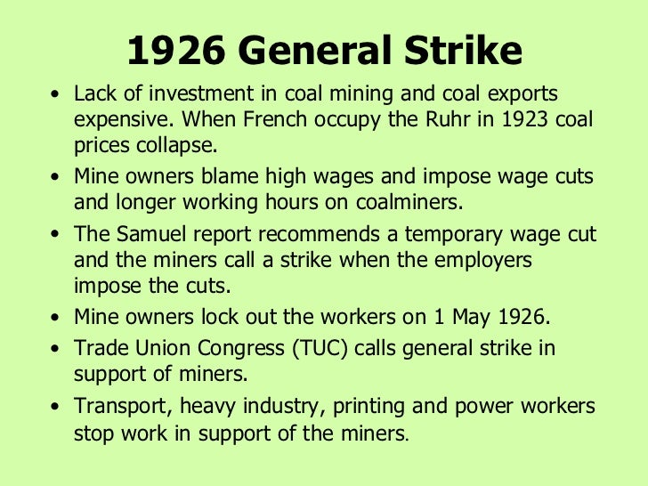 general strike of 1926 causes and impact What events led to the winnipeg general strike in 1919 the winnipeg general strike was the culmination of labour unrest that had been building across canada since the introduction of the industrial disputes and investigation act.