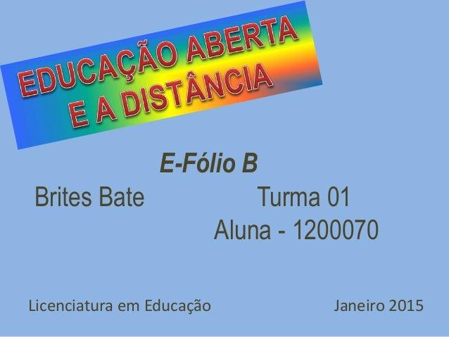 Licenciatura em Educação Janeiro 2015 E-Fólio B Brites Bate Turma 01 Aluna - 1200070