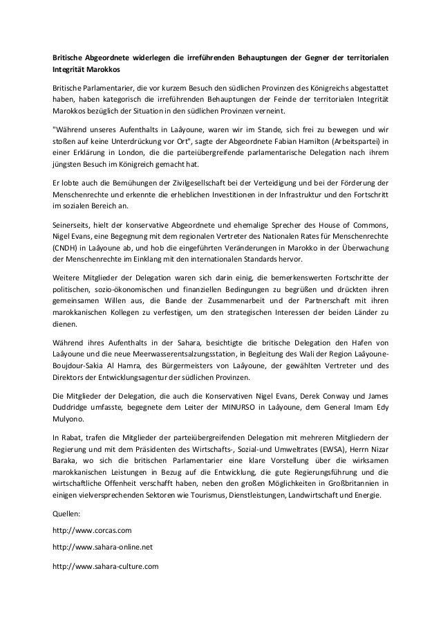 Britische Abgeordnete widerlegen die irreführenden Behauptungen der Gegner der territorialen Integrität Marokkos Britische...