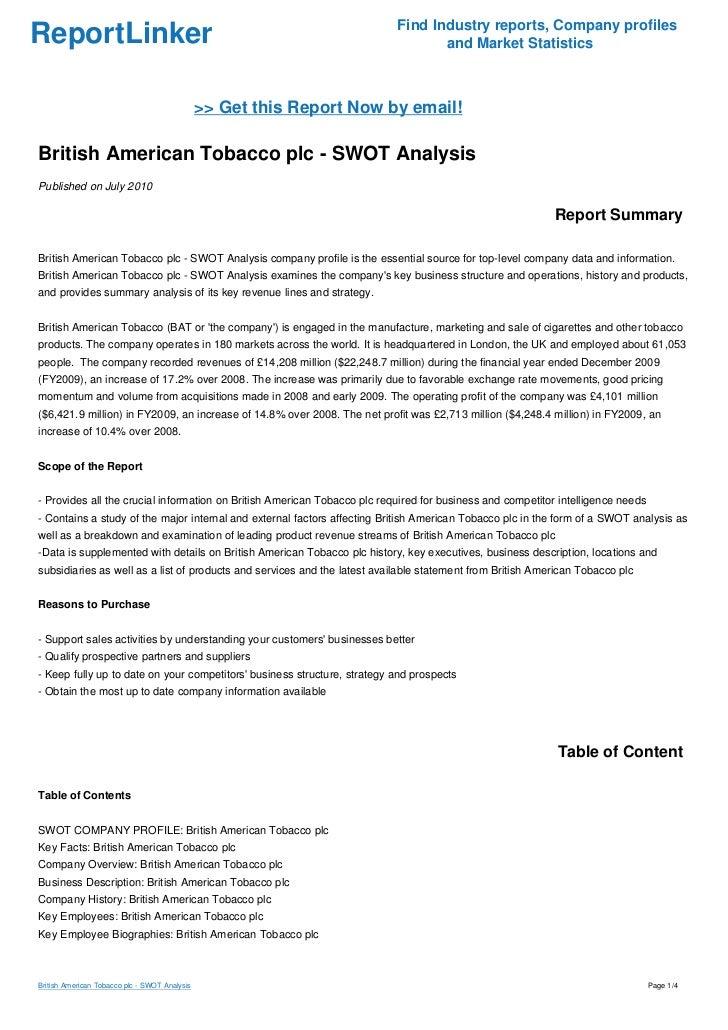 British American Tobacco p.l.c. - Company Profile & SWOT Analysis