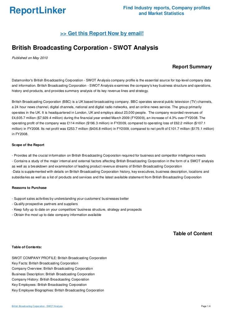 British Broadcasting Corporation - SWOT Analysis