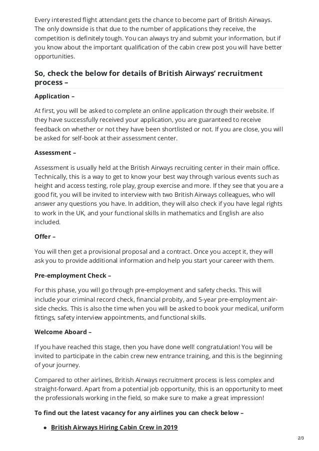 British airways recruitment process step by step in 2019
