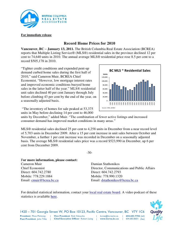 For immediate release                                          Record Home Prices for 2010Vancouver, BC – January 13, 2011...