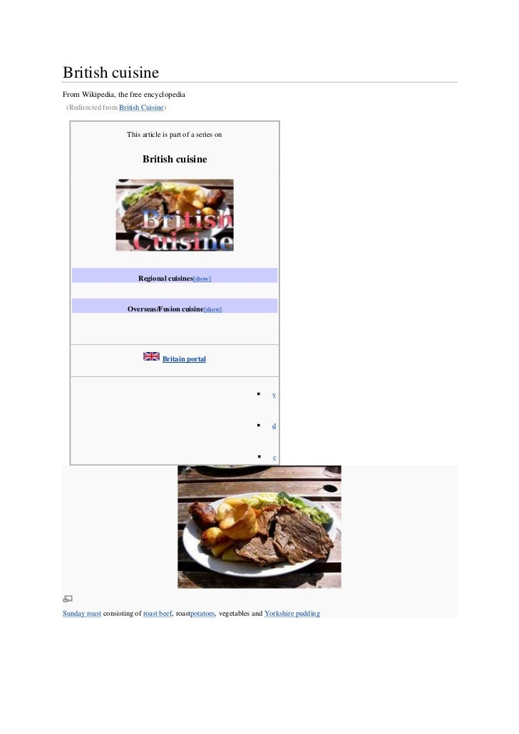 British cuisineFrom Wikipedia, the free encyclopedia (Redirected from British Cuisine)                     This article is...