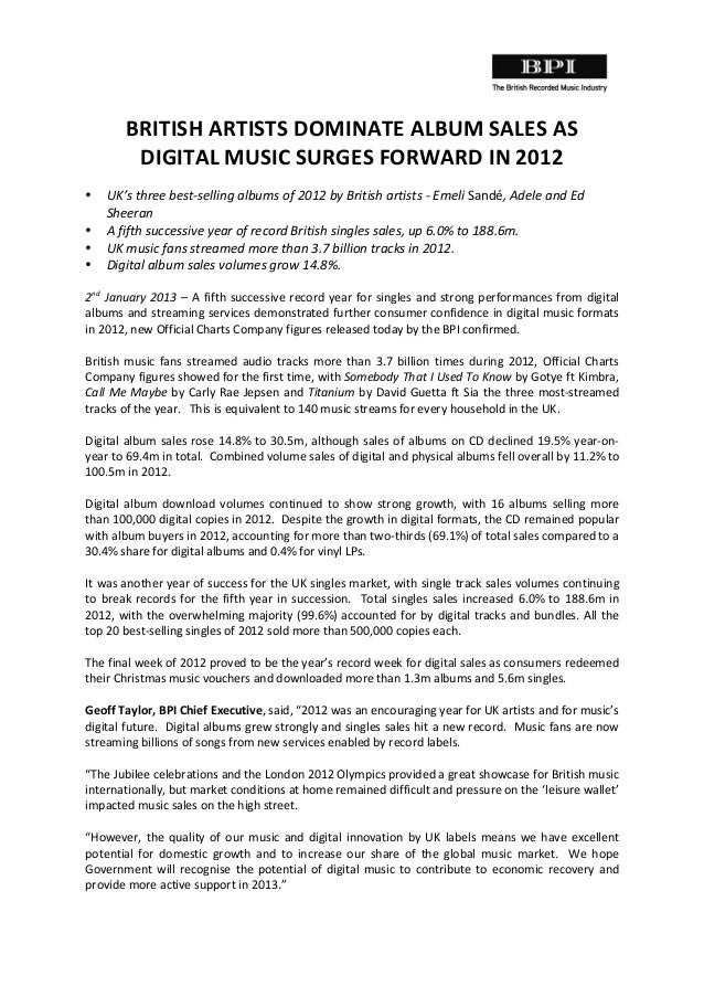 BRITISH	   ARTISTS	   DOMINATE	   ALBUM	   SALES	   AS	   	    DIGITAL	   MUSIC	   SURGES	   FORWARD	   IN	   2012	    ...