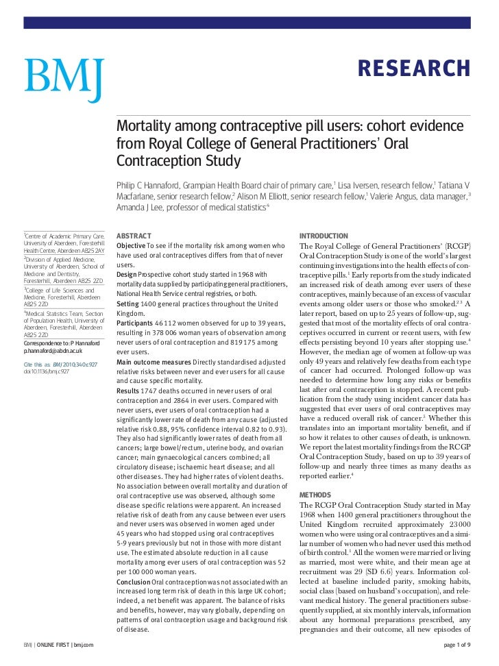 RESEARCH                                       Mortality among contraceptive pill users: cohort evidence                  ...