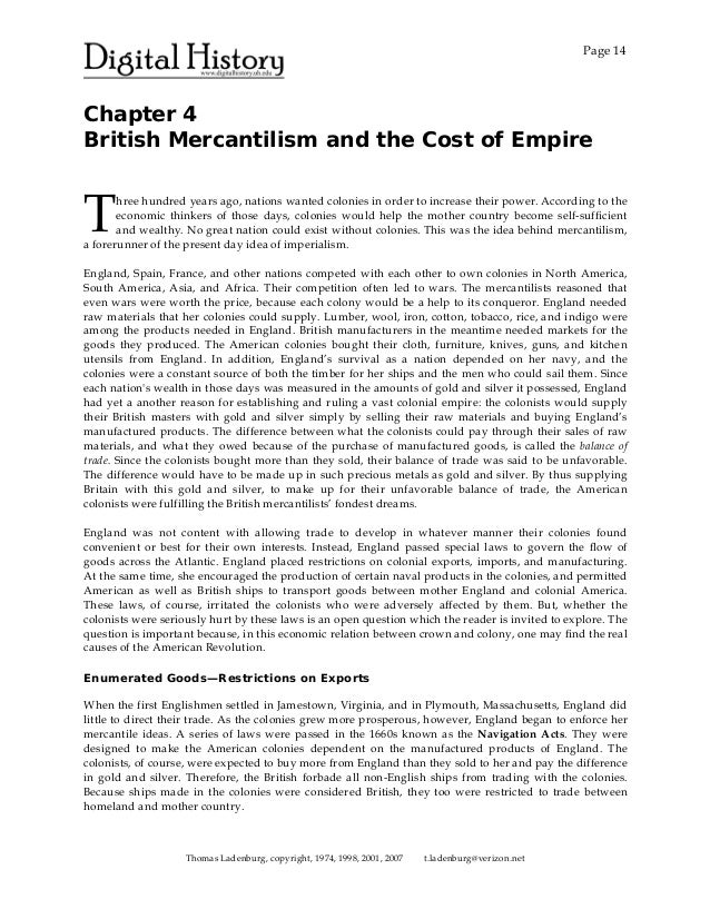How Did Mercantilism Effect the Colonies?