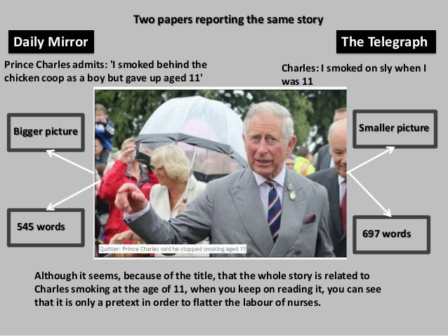 Two papers reporting the same story  Daily Mirror Prince Charles admits: 'I smoked behind the chicken coop as a boy but ga...