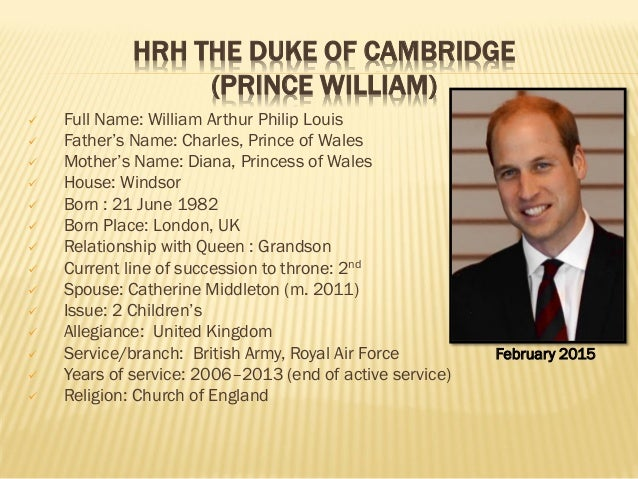 Full Name: List Of Current Member's Of Brithish Royal Family