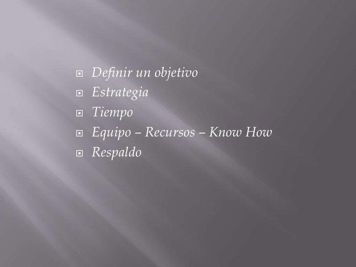 Definir un objetivo<br />Estrategia<br />Tiempo<br />Equipo – Recursos – KnowHow<br />Respaldo<br />