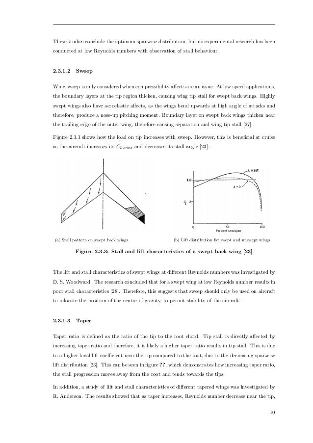 What are the characteristics of a swept wing?