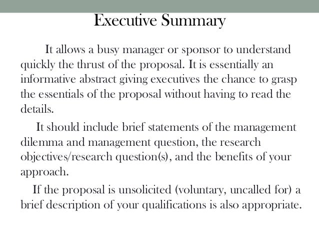 Research Proposal – Executive Summary Proposal Template