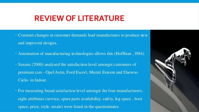 Literature review of customer satisfaction in maruti suzuki