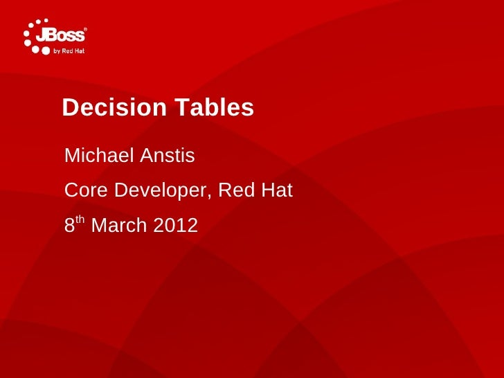 Decision TablesMichael AnstisCore Developer, Red Hat8th March 2012