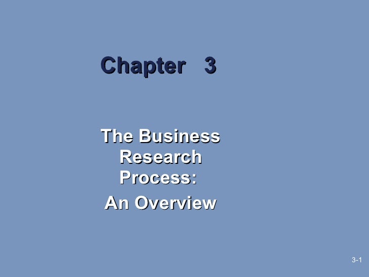 Chapter  3 The Business Research Process:  An Overview 3-