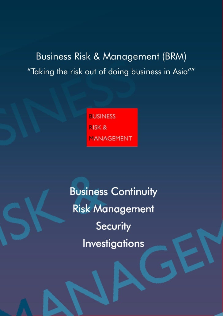 Business Amp Management Consultants : Company credentials business risk management