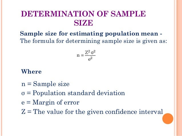 Brm sampling techniques the 20 determination of sample size sample size for estimating population mean the formula ccuart Image collections