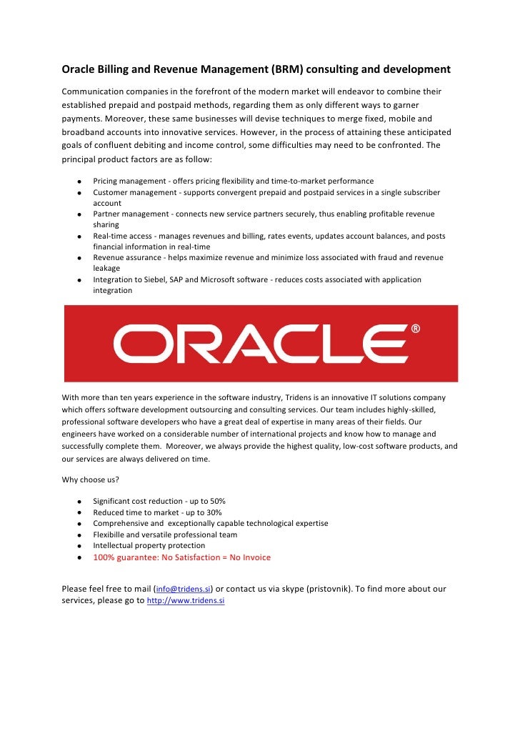 Oracle Billing and Revenue Management (BRM) consulting and development Communication companies in the forefront of the mod...