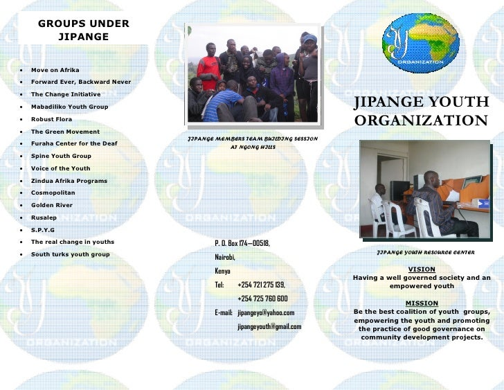 GROUPS UNDER         JIPANGE·   Move on Afrika·   Forward Ever, Backward Never·   The Change Initiative·   Mabadiliko Yout...