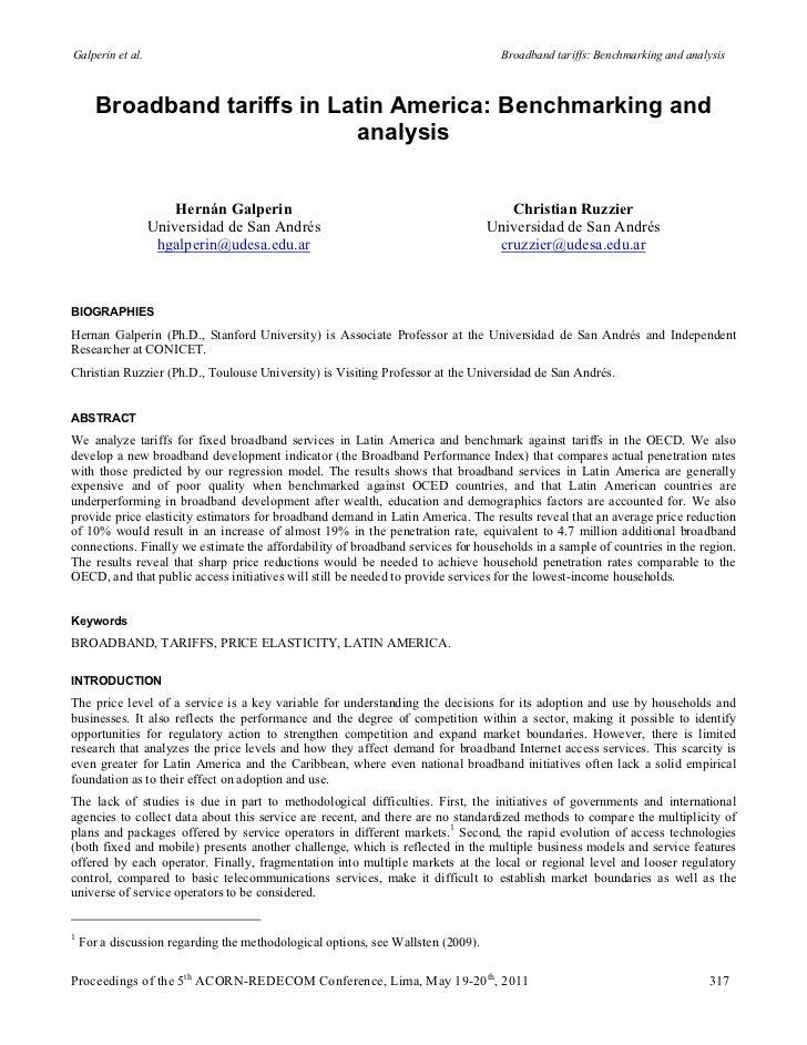 Galperin et al.                                                                     Broadband tariffs: Benchmarking and an...