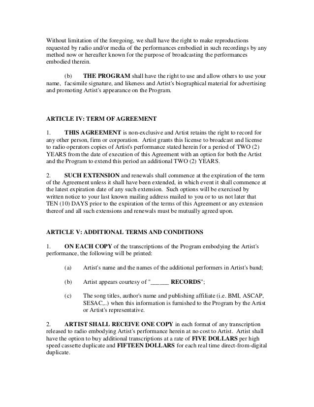 Broadcast recording contract – Recording Contract Template