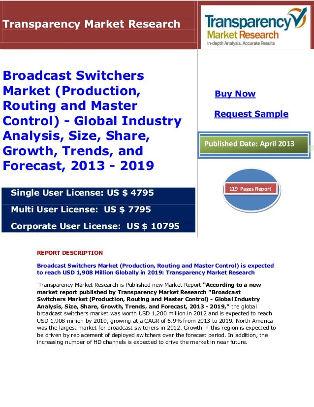 REPORT DESCRIPTION Broadcast Switchers Market (Production, Routing and Master Control) is expected to reach USD 1,908 Mill...