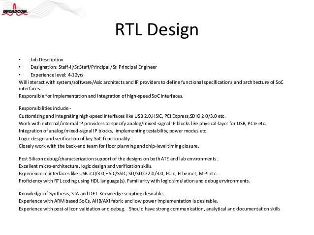 ... Qualification And Production; 6. RTL Designu2022 Job Descriptionu2022 ...