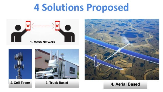 4 Solutions Proposed 1. Mesh Network 2. Cell Tower 3. Truck Based 4. Aerial Based