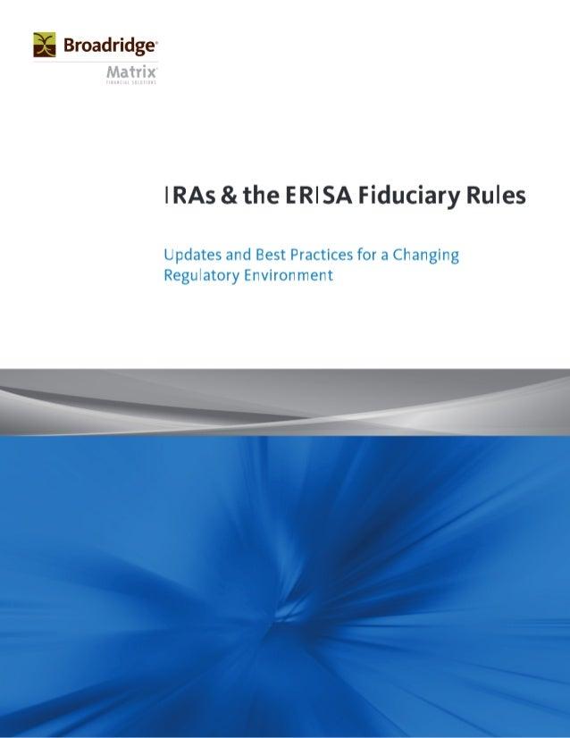 IRAs and The ERISA Fiduciary Rules