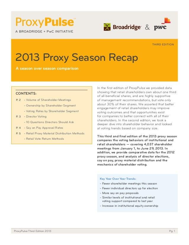 THIRD EDITION  2013 Proxy Season Recap a season over season comparison  CoNtENtS: P. 2  - Volume of Shareholder Meetings -...